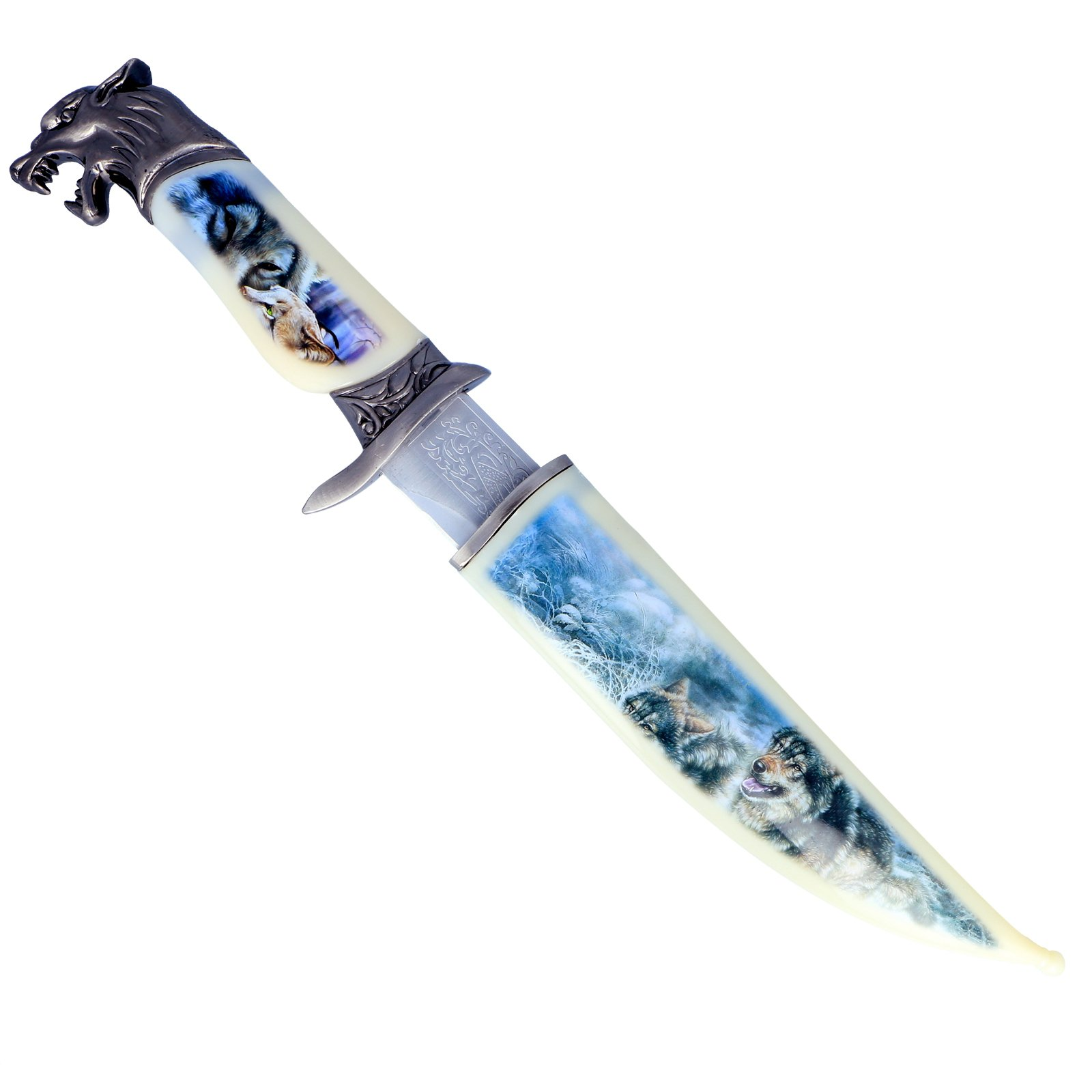 13.5in Collector's Hunting Knife with Wolf Scabbard and Etched Blade