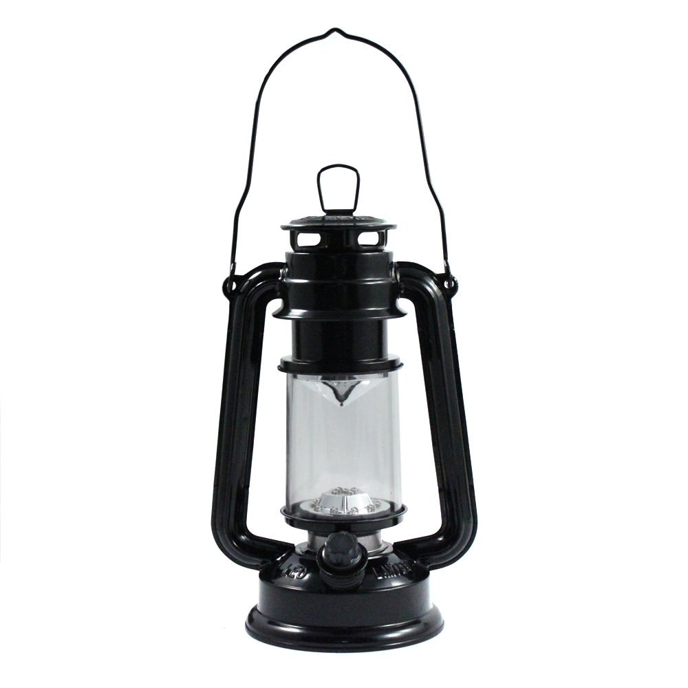 15 LED 9.5 in Hurricane Lantern Dimmer Switch Hanging Hook Camping Light Black