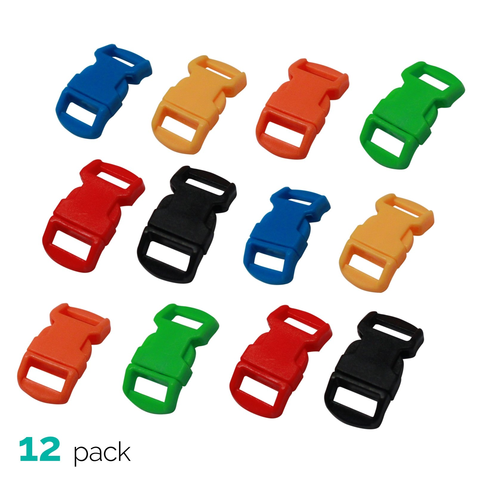 12pk ASR Outdoor Paracord Bracelet Buckle Set Assorted Colors 15mm .5 Inch