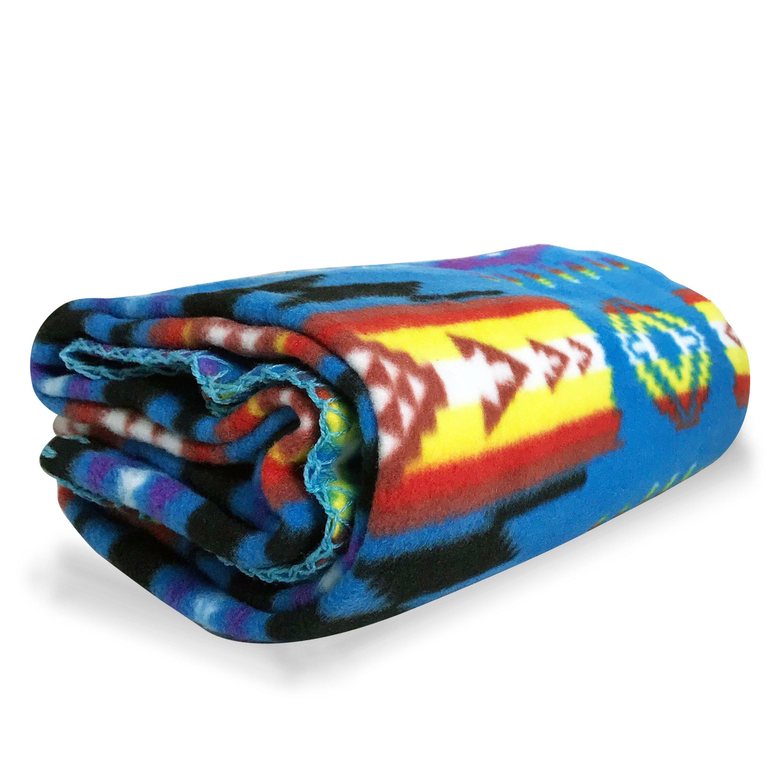ASR Outdoor Adventure Wilderness Blue Fleece Blanket Southwest Arrows 50 x 60 In