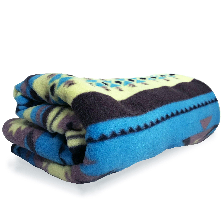 ASR Outdoor Adventure Wilderness Turquoise Fleece Blanket Southwest Stripes