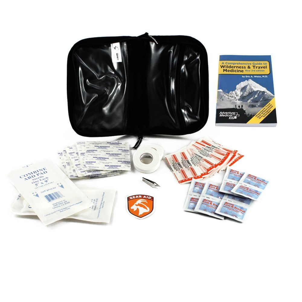 Gear Aid First Aid Kit & Wilderness Medicine Guide Emergency Combo