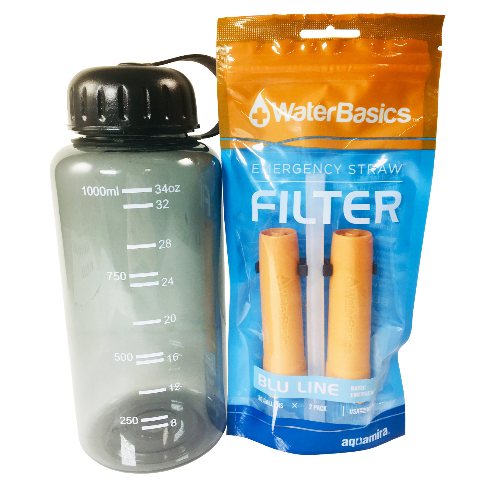 ASR Outdoor Water Filtration Straws and 34oz Bottle Kit