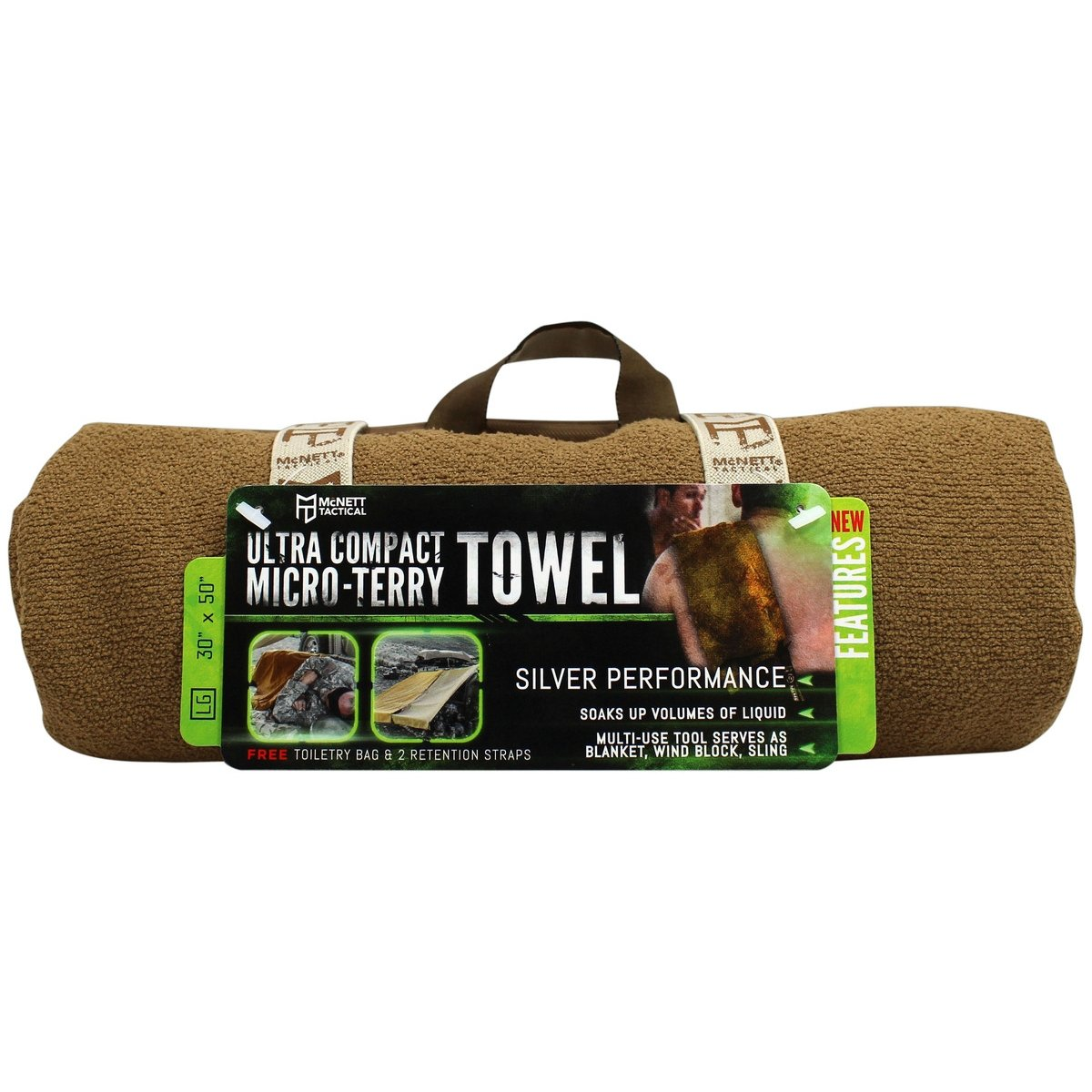 Gear Aid Tactical Ultra-Compact Micro-Terry Towel - Coyote Large