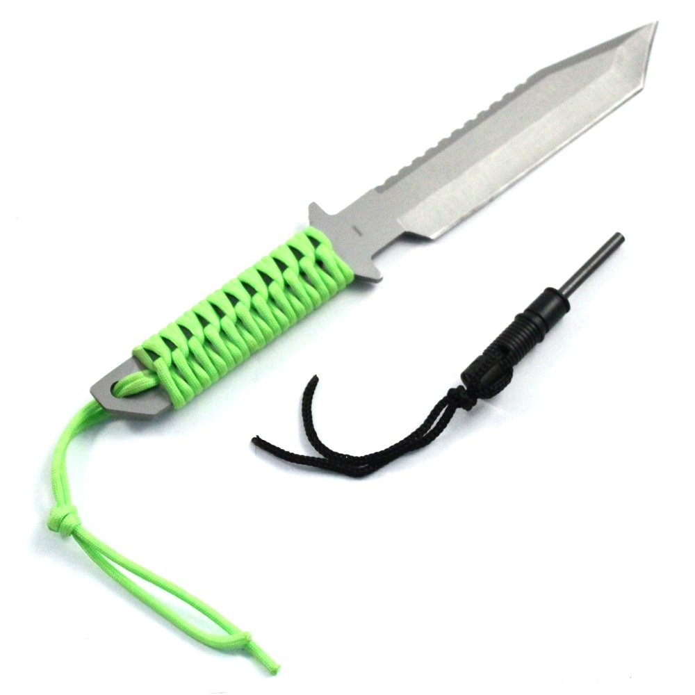 "11"" Full Tang Camping Hunting Survival Serrated Knife & Fire Starter Neon Green"