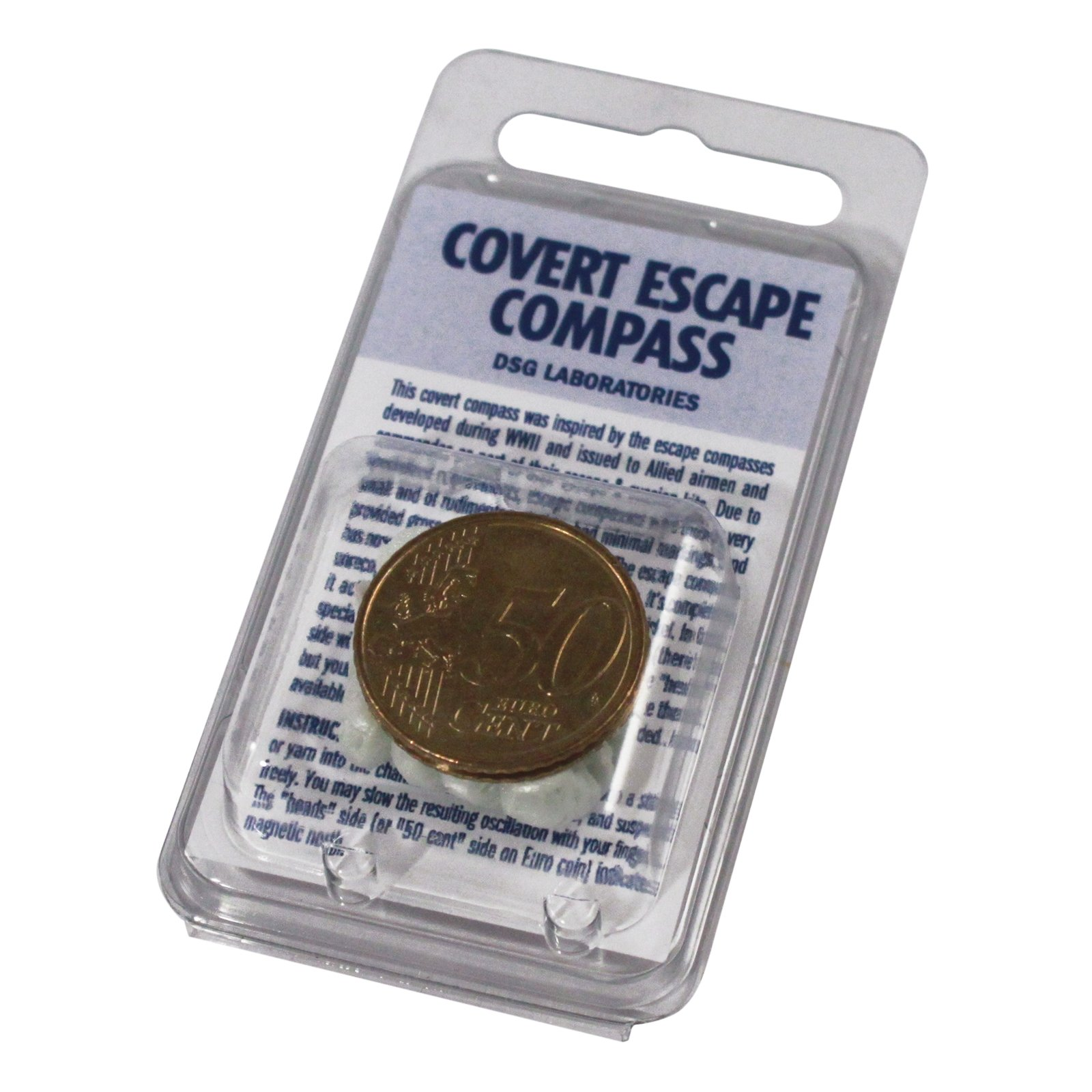 ASR Outdoor Covert Escape Compass Euro Coin Points to Magnetic North