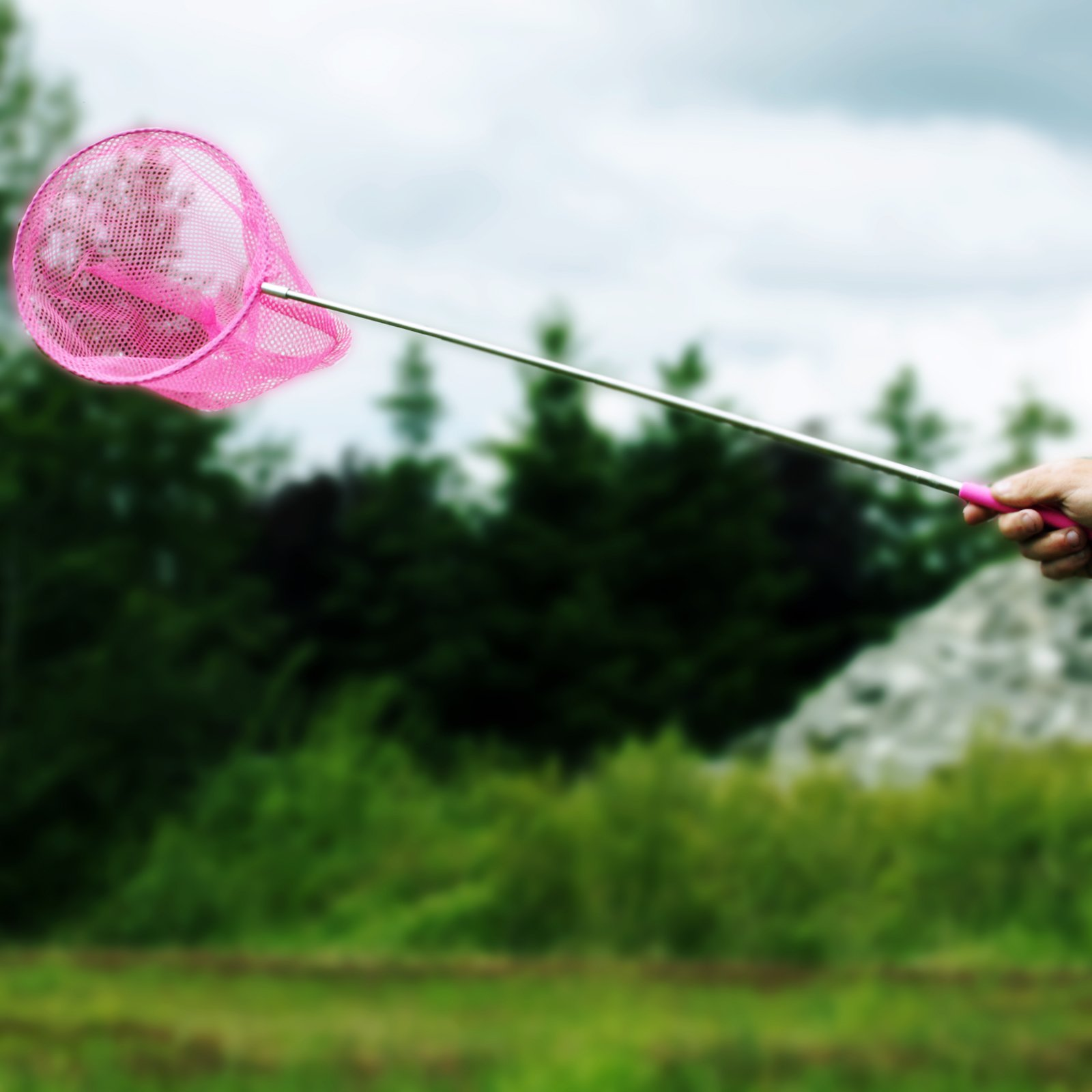 KidPlay Products Telescopic Mesh Butterfly Net Kids Outdoor Toy Pink