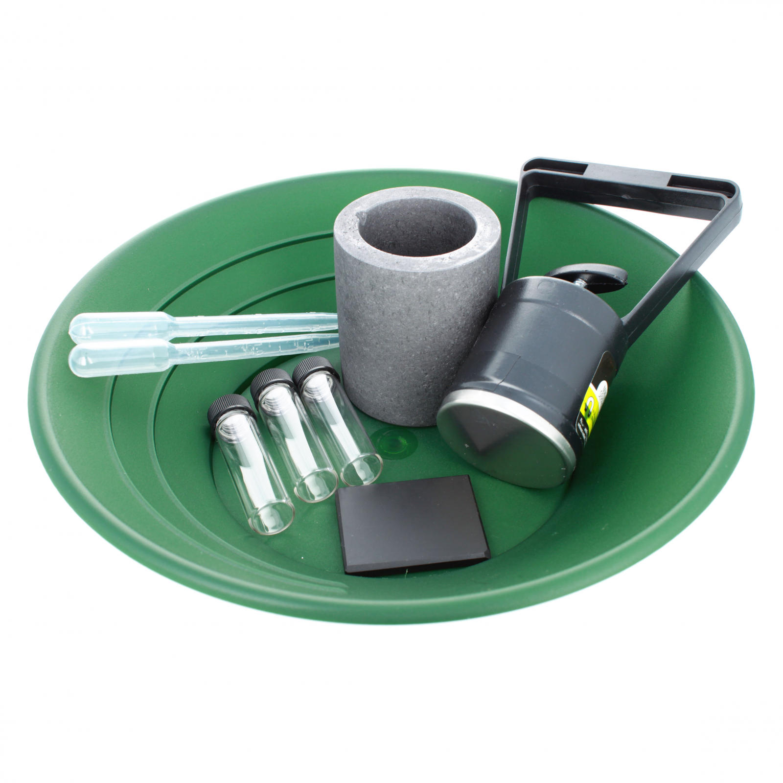 ASR Outdoor Gold Rush Gold Prospecting Pan Kit Glass Vials Testing Stone - 9pc