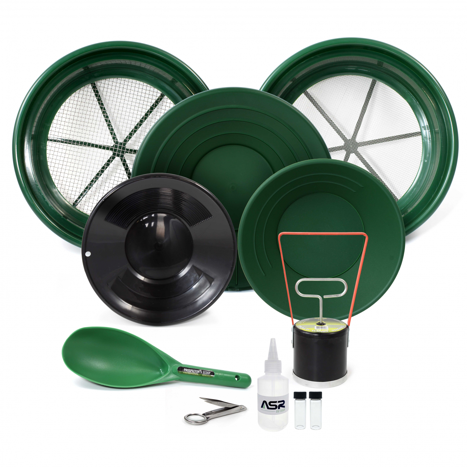 ASR Outdoor Gold Rush Gold Prospecting Kit Classifiers Vials Sifting Pans - 11pc
