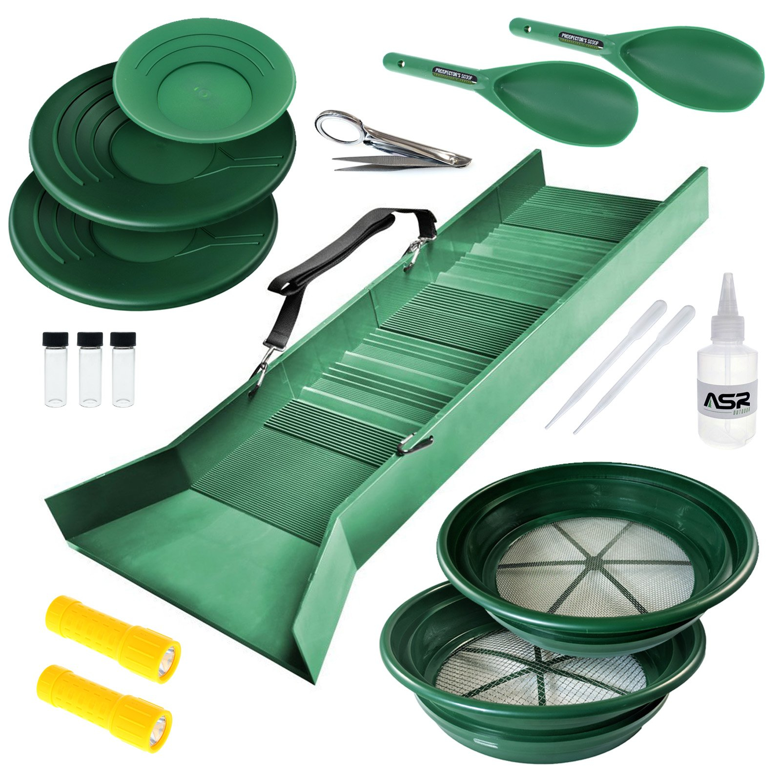 ASR Outdoor Deluxe Sluice Box Gold Rush Kit - 17 Piece Set