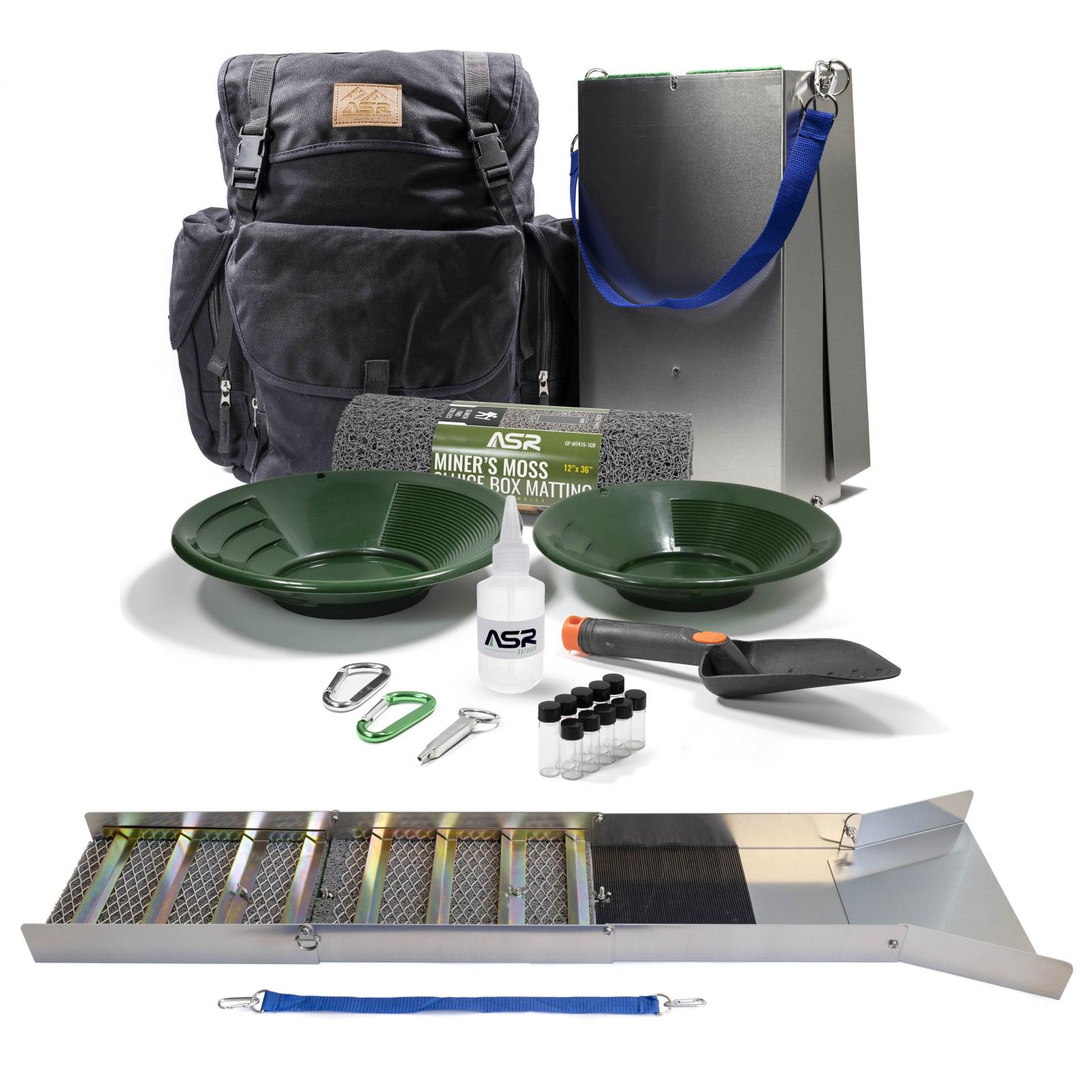 "ASR Outdoor Deluxe 50"" Aluminum Folding Sluice Box Gold Prospecting Backpack Kit"