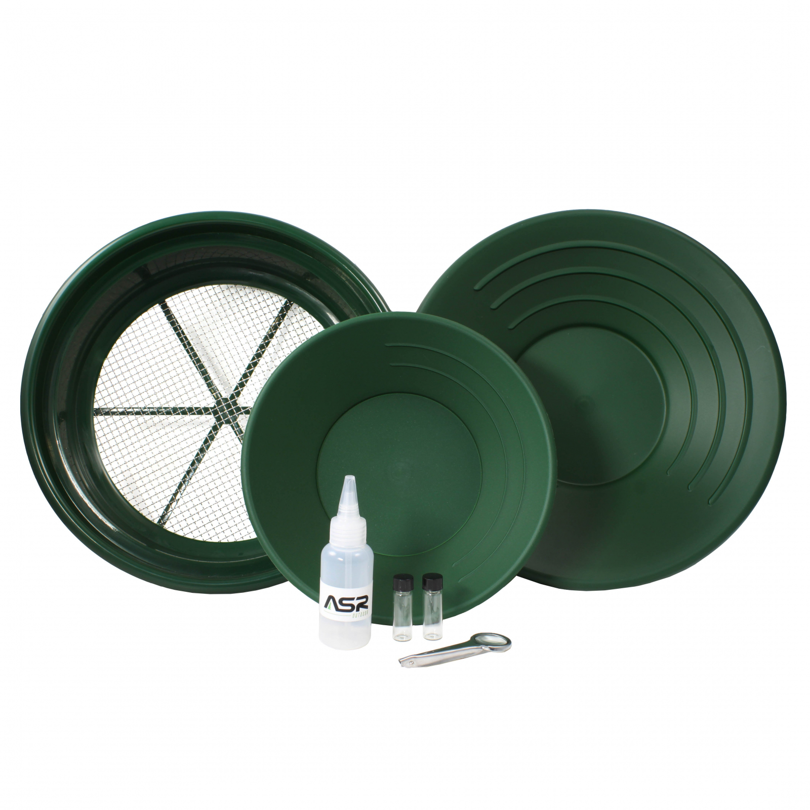ASR Outdoor Gold Rush Gold Prospecting Kit Classifiers Vials Sifting Pans - 7pc