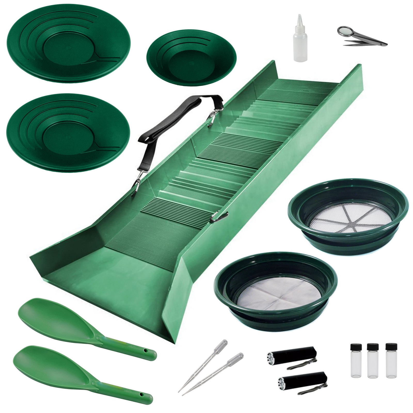 ASR Outdoor Deluxe Sluice Box Gold Prospecting Kit Classifier Pans Snifter 17pc