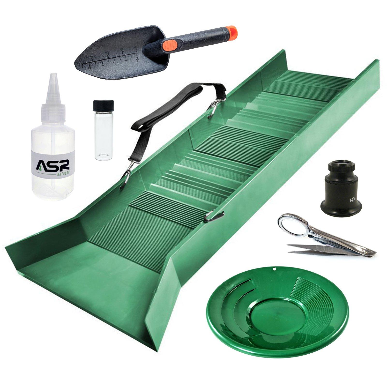 ASR Outdoor Sluice Box Gold Prospecting Kit Pan Vial Snifter Trowel Tweezer 7pc