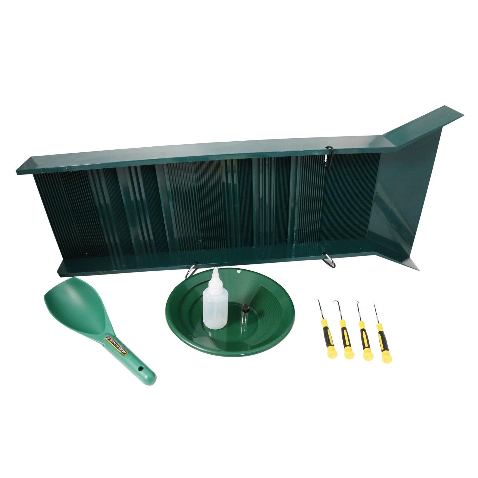 ASR Outdoor Sluice Box Gold Prospecting Kit Pan Vial Snifter Trowel Hooks 6pc