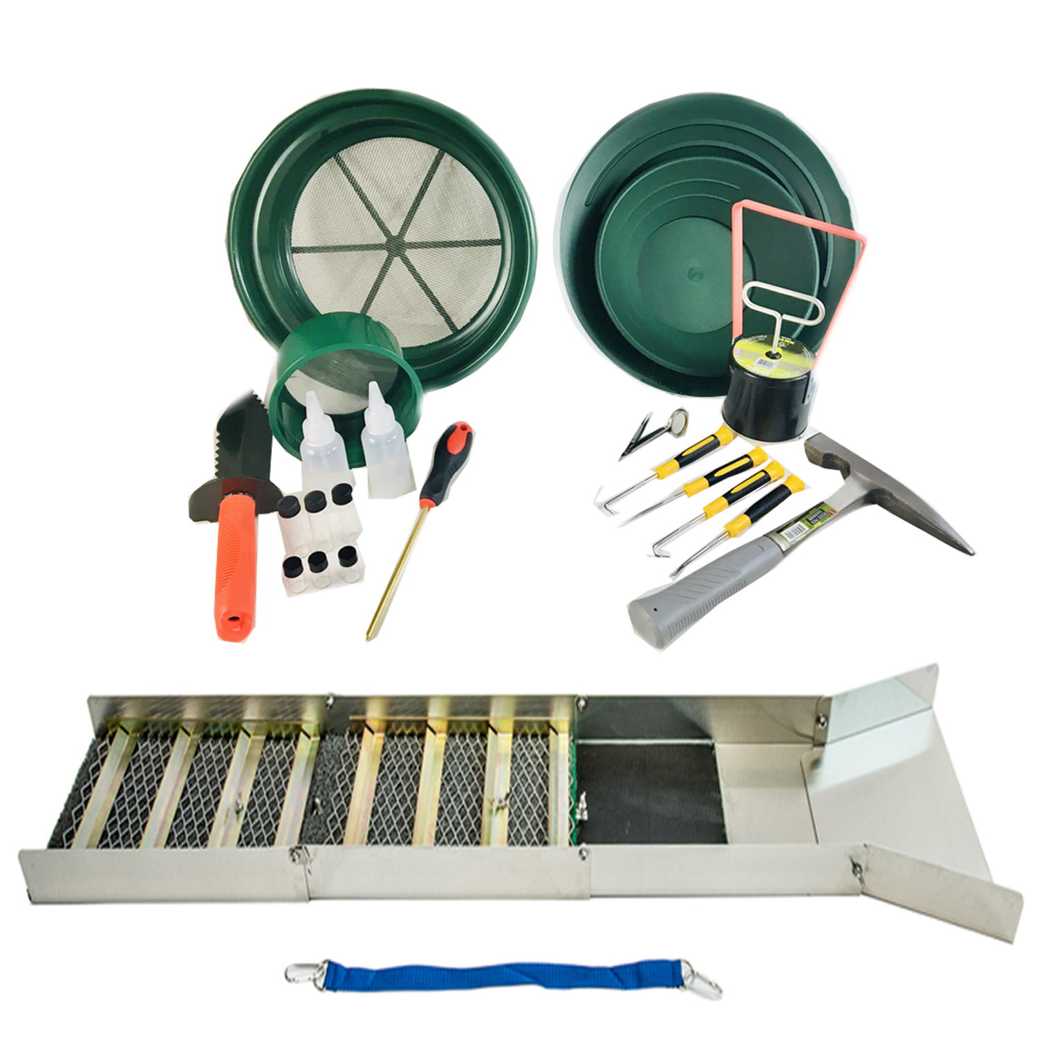 ASR Outdoor 21pc Deluxe Folding Sluice Box Gold Rush Gold Panning Kit with Tools