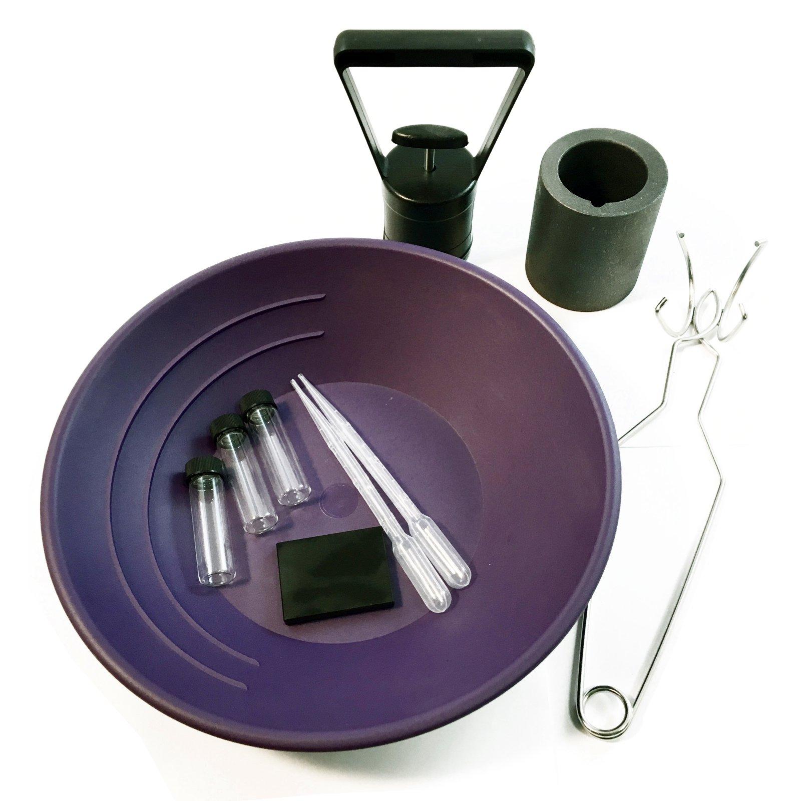 ASR Outdoor Gold Rush Gold Prospecting Pan Kit Glass Vials Testing Stone - 10pc