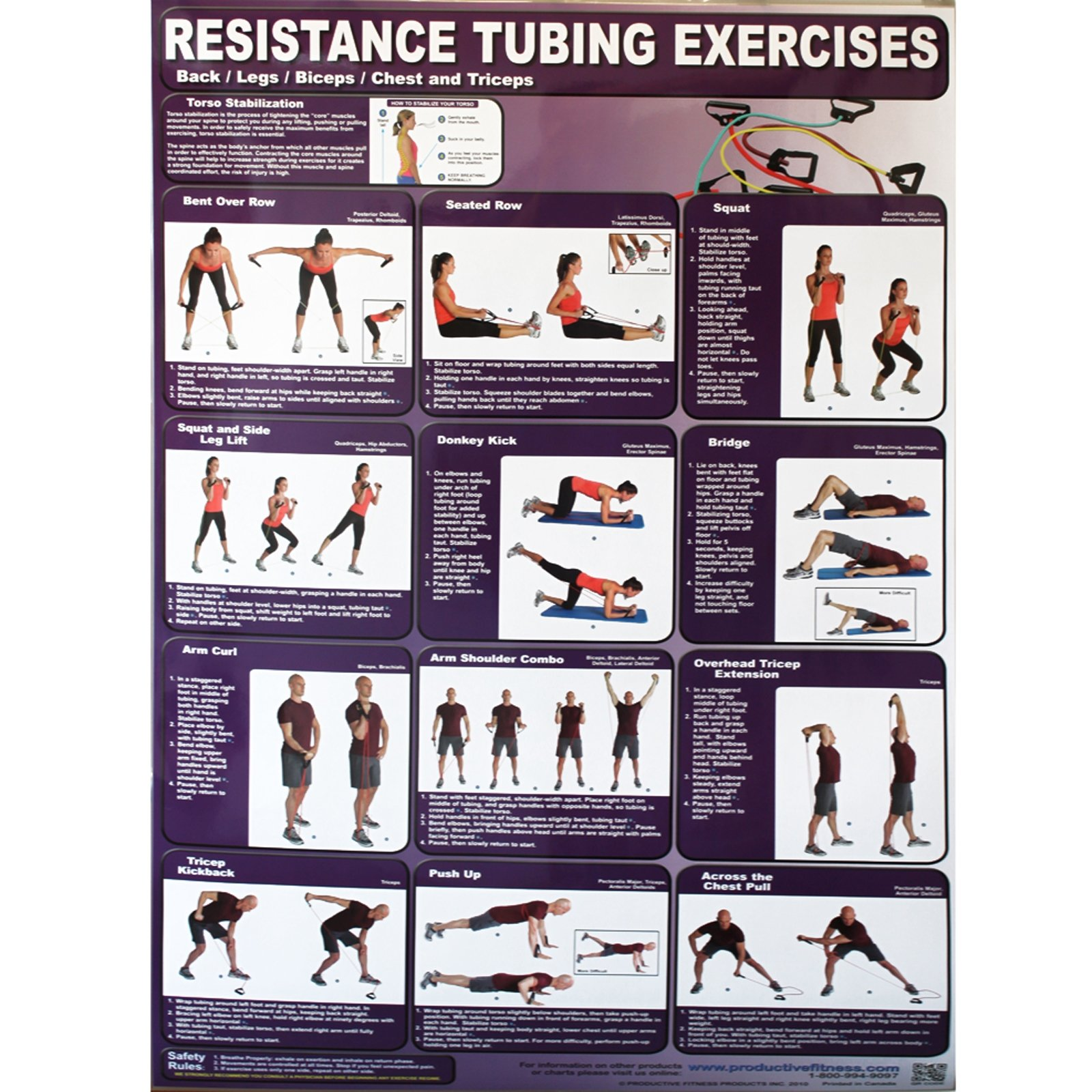 Productive Fitness Poster Series Resistance Tubing Exercises Non-Laminated