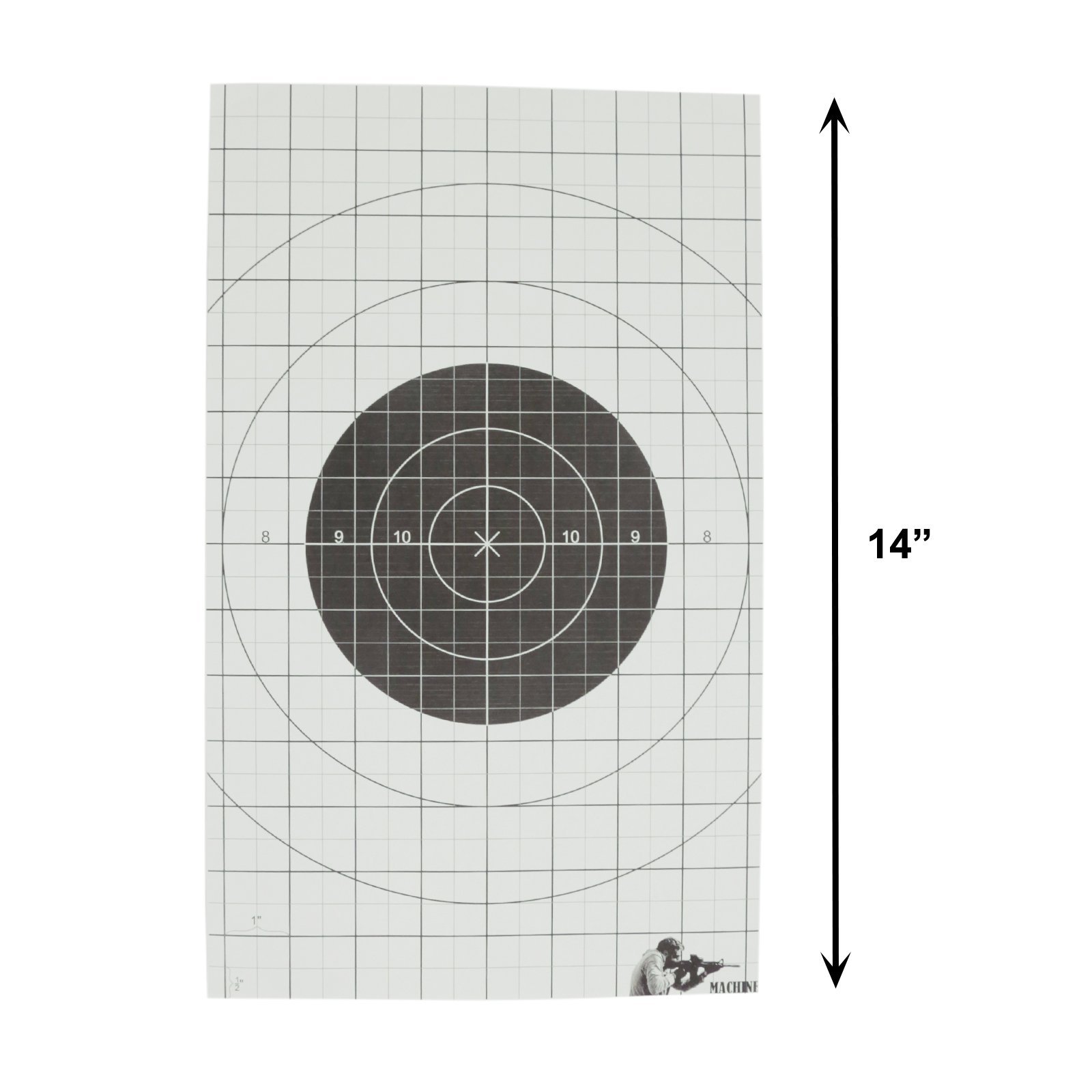 Tactical Double Sided Shooting Target Bullseye and Anatomical Center