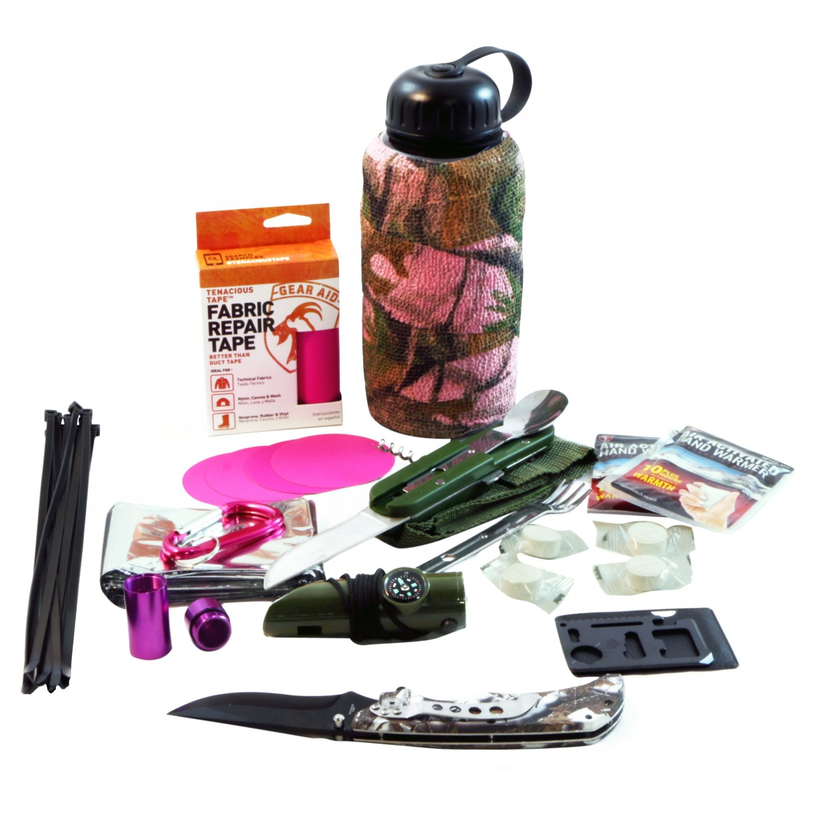 ASR Outdoor Womens Camo Bottle Survival Kit Gear Repair Tape Camping Tools Pink