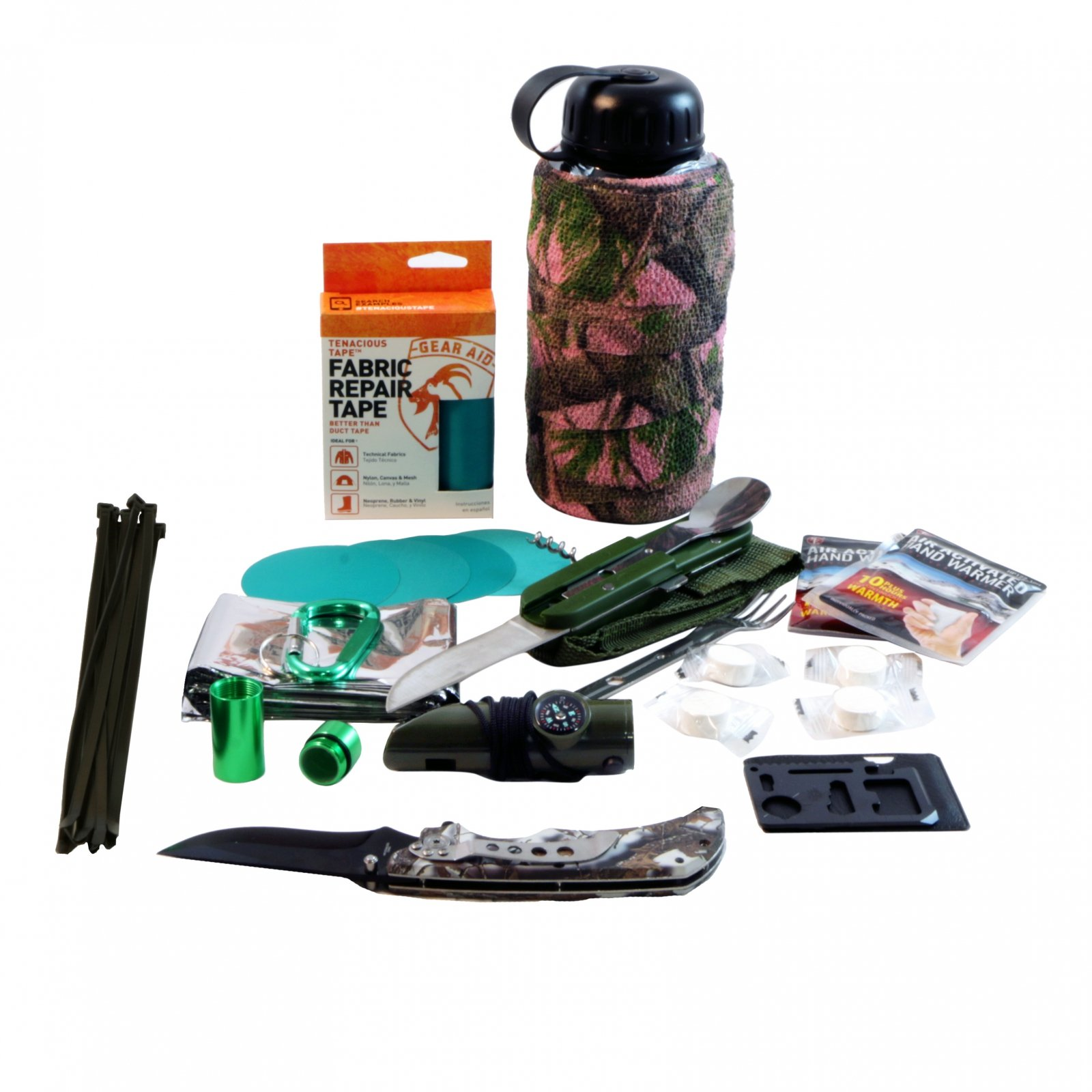 ASR Outdoor Womens Camo Bottle Survival Kit Gear Repair Tape Camping Tools Teal