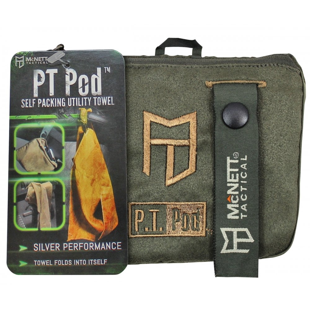 Tactical PT Pod Self Packing Microfiber Towel Camping and Hiking - OD Green