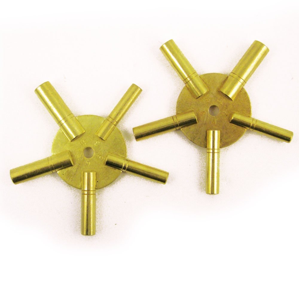 2 Pack Numbered 5 Way Brass Antique Grandfather ClockWinding Key