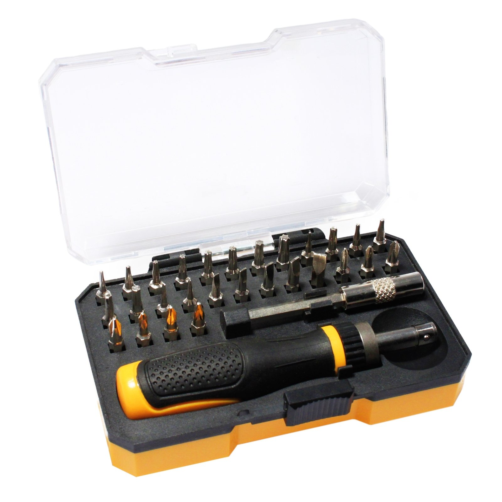 30pc Precision Ratchet Screwdriver Set Assorted Bit Extensions