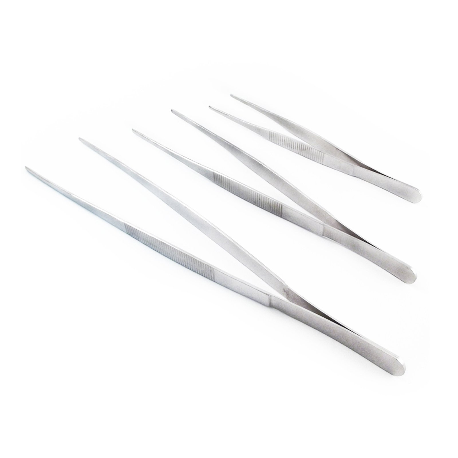 3pc Large Serrated Tweezers Tong Set with Case- 12, 10, and  8 Inch