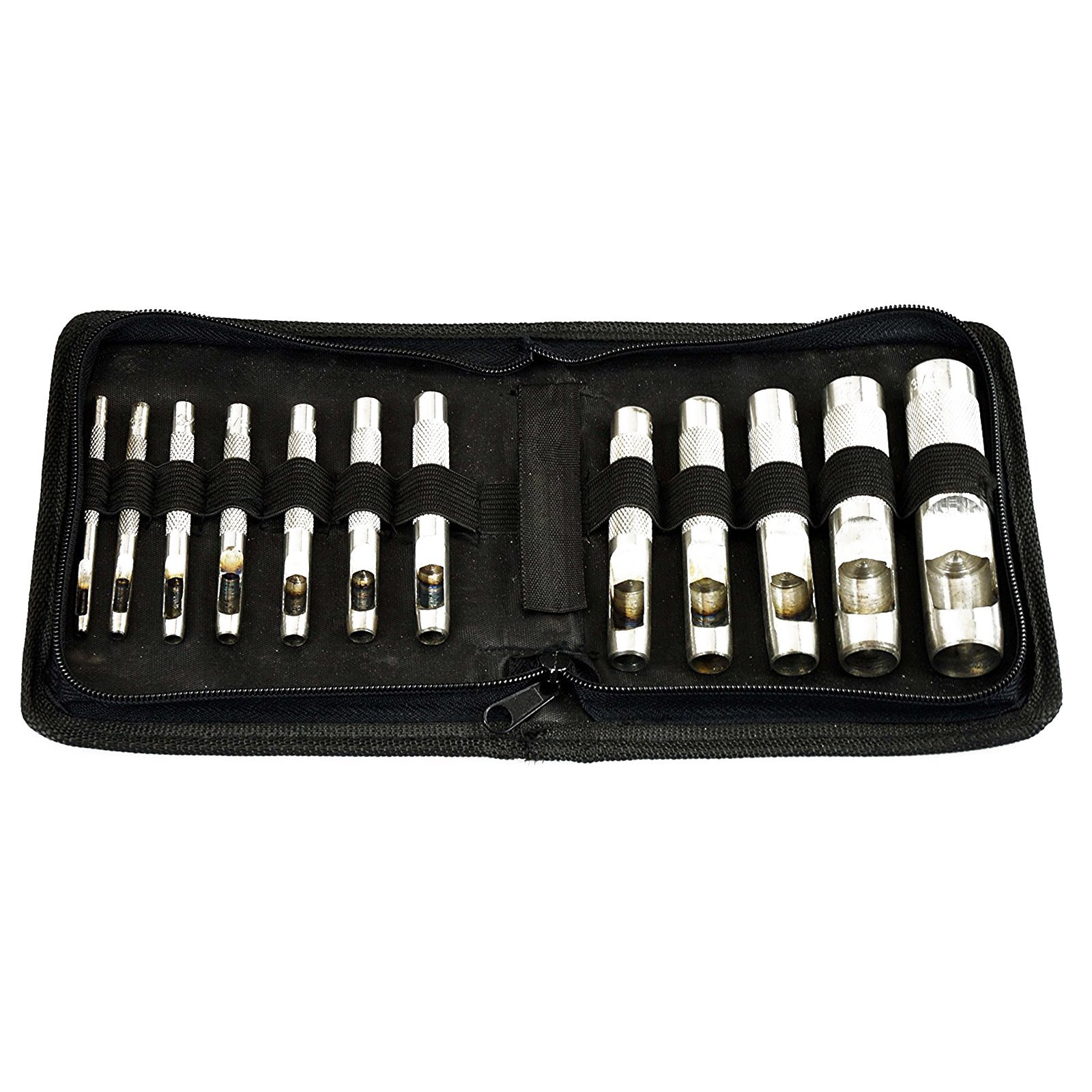SE 791LP Heavy-Duty 12-Piece Hollow Punch Set with Zipper Pouch
