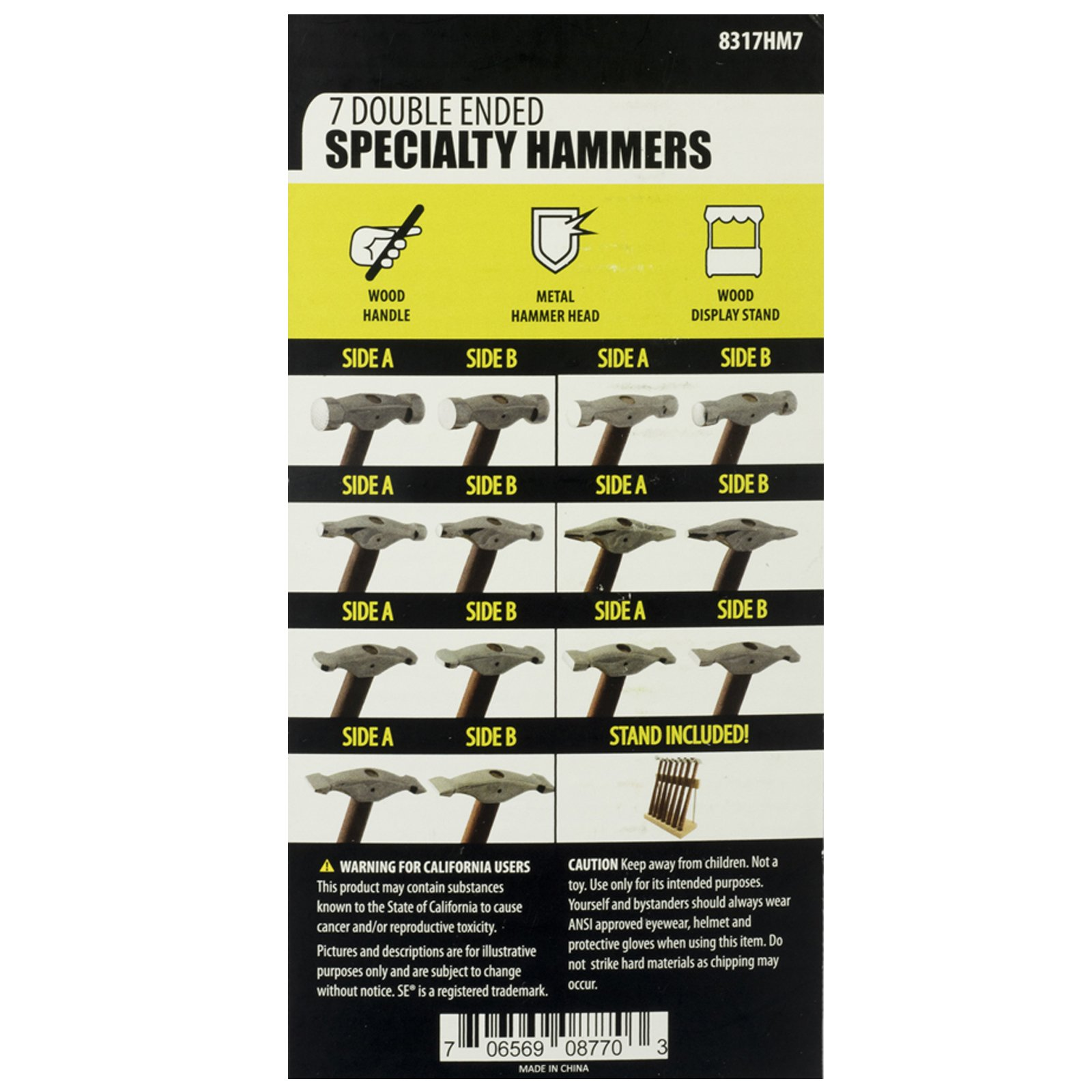 Universal Hobby - 7 Piece Jewelers Hammer Set With Wooden Handle