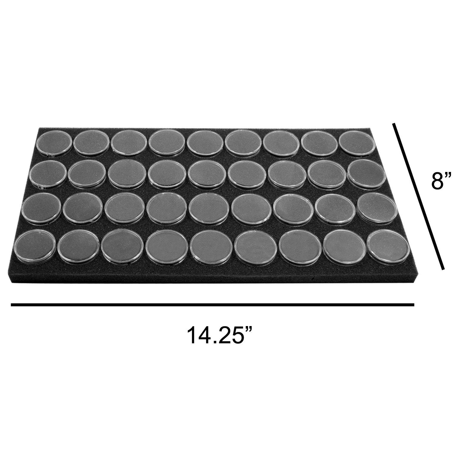 """SE GJ836BK Round Gem Holder in a Black Foam (36 Piece), 1-1/2"""" x 3/4"""""""