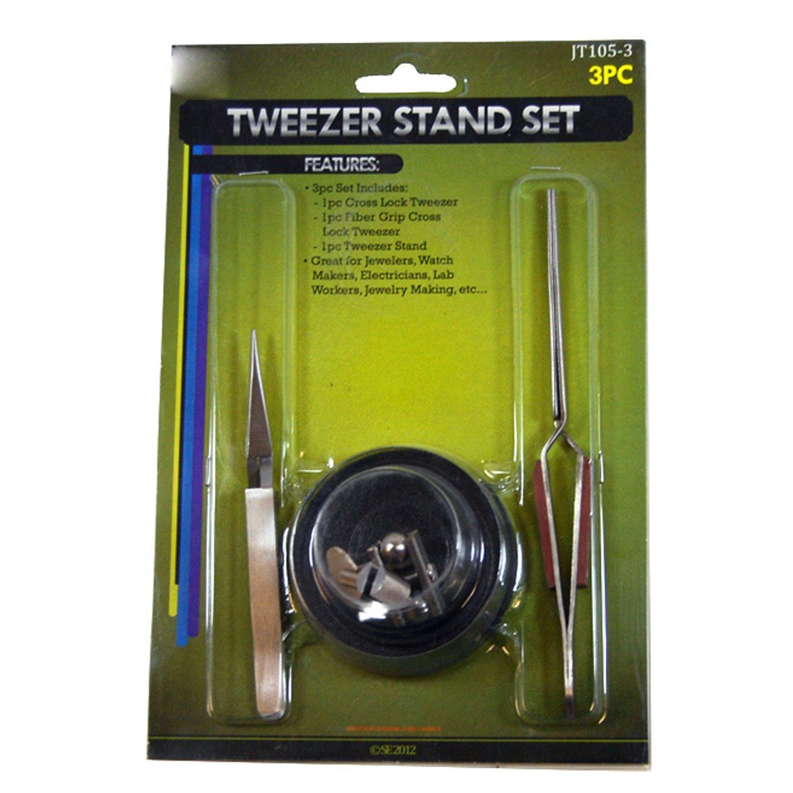 Universal Hobby Tweezer Stand Fiber Grip Cross Action Lock Tweezers Jewelry Tool