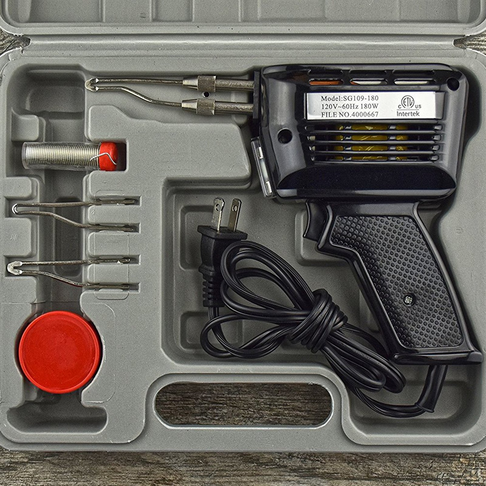 Universal Tool 180 Watt Soldering Gun Set Multiple Tips Solder Flux Carry Case