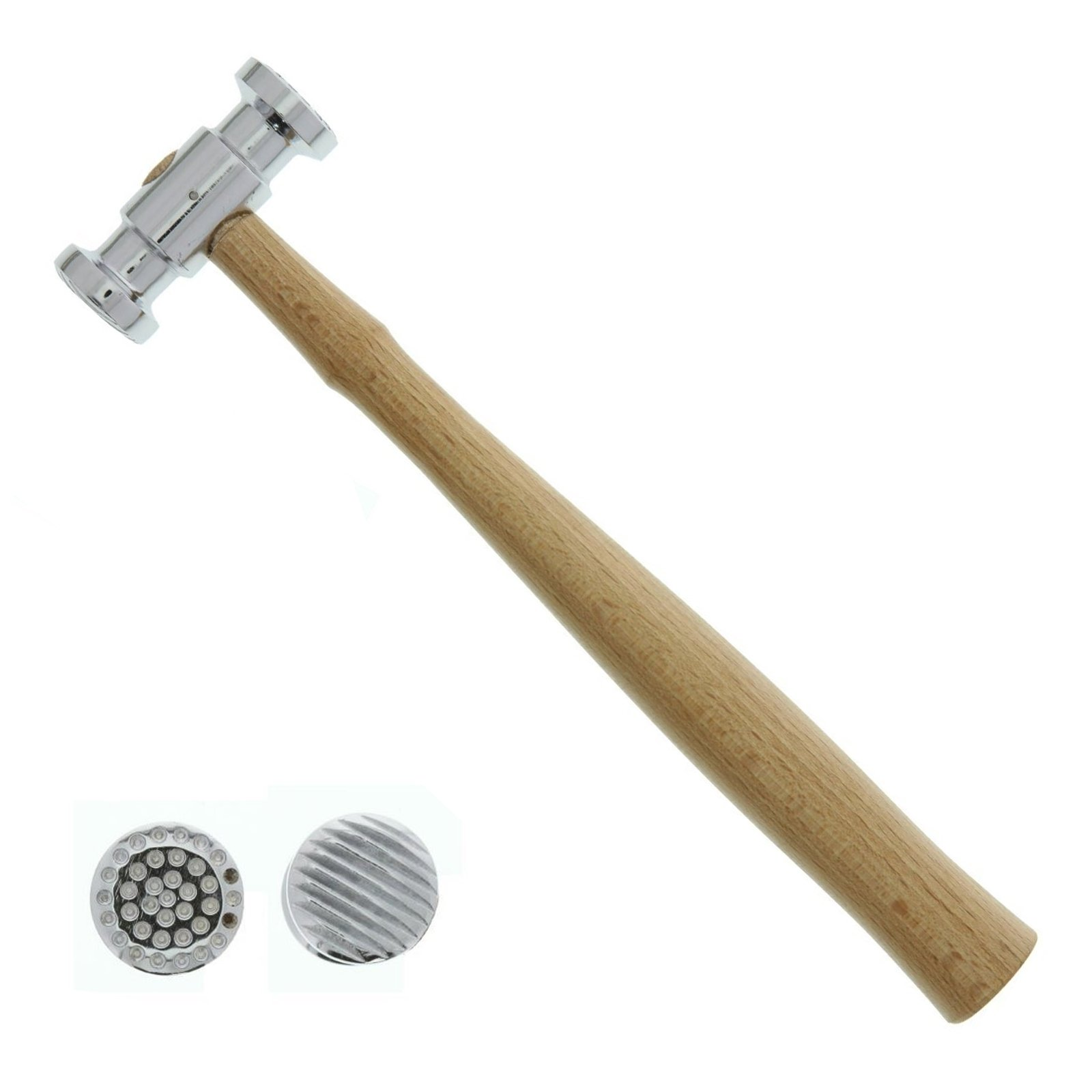 Universal Tool Texturising Hammer Dual Face Dimple Stripe Patterns Wooden Handle