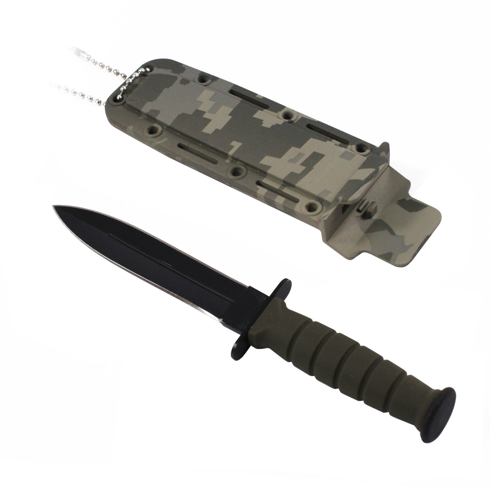 6inch ASR Tactical Serrated Fixed Blade Dagger Hunting Neck Knife - Camo