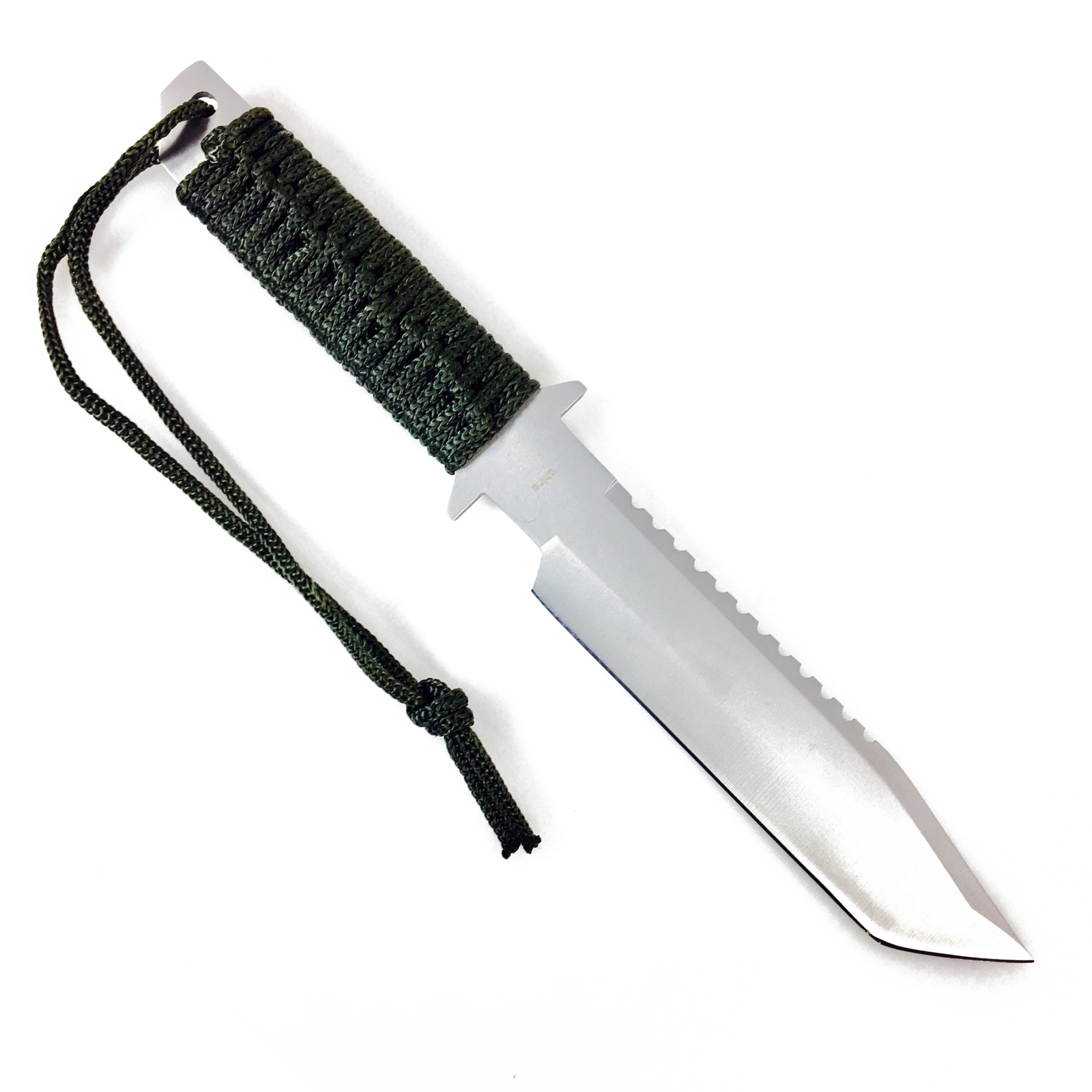 """ASR Outdoor 11"""" Fixed Blade Paracord Survival Knife Serrated with Fire Starter - OD Green"""