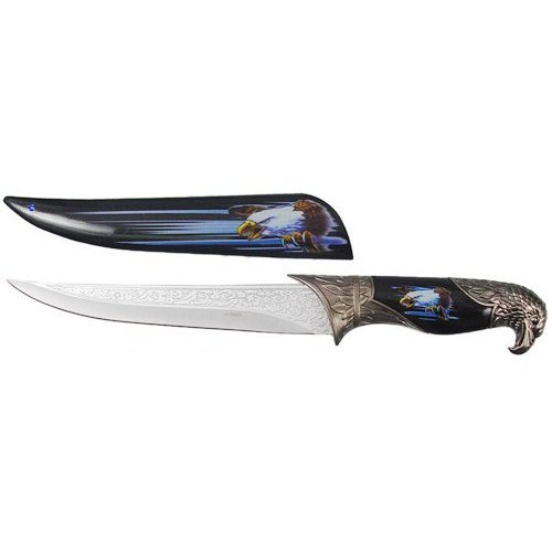 ASR Outdoor Collectible Black Eagle Etched Dagger Bowie Knife
