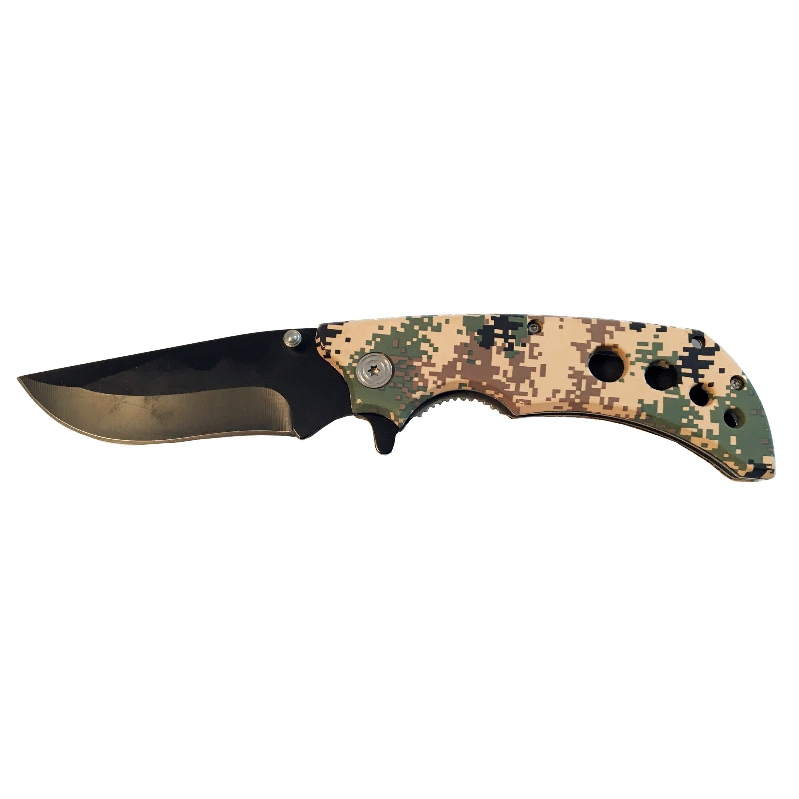 ASR Outdoor Folding Pocket Knife ABS Handle 3.5 Inch Blade - Digital Camo
