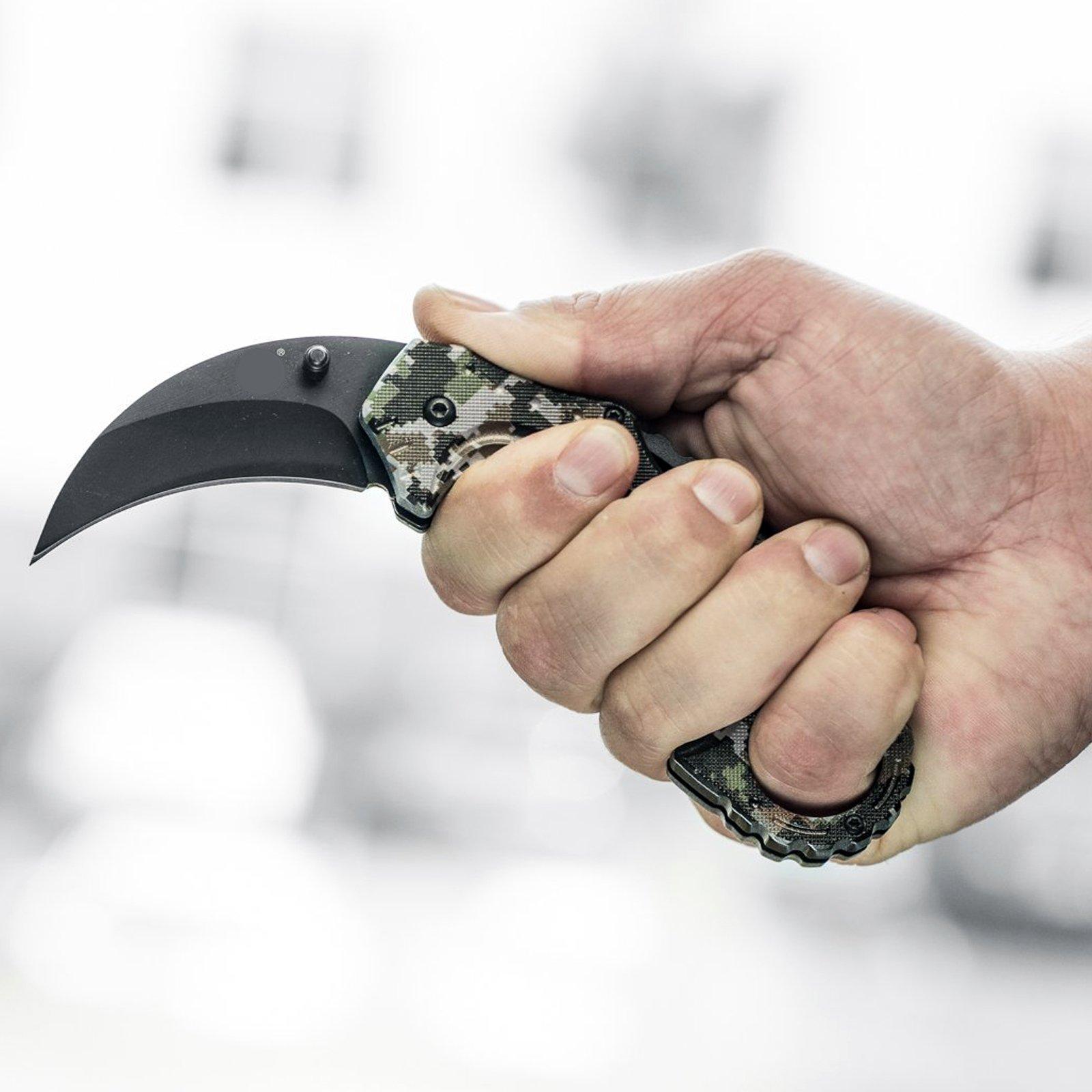 ASR-Outdoor-Hawkbill-Style-Folding-Knife-Digital-Camo-Pocket-Blade-4-Colors miniature 8