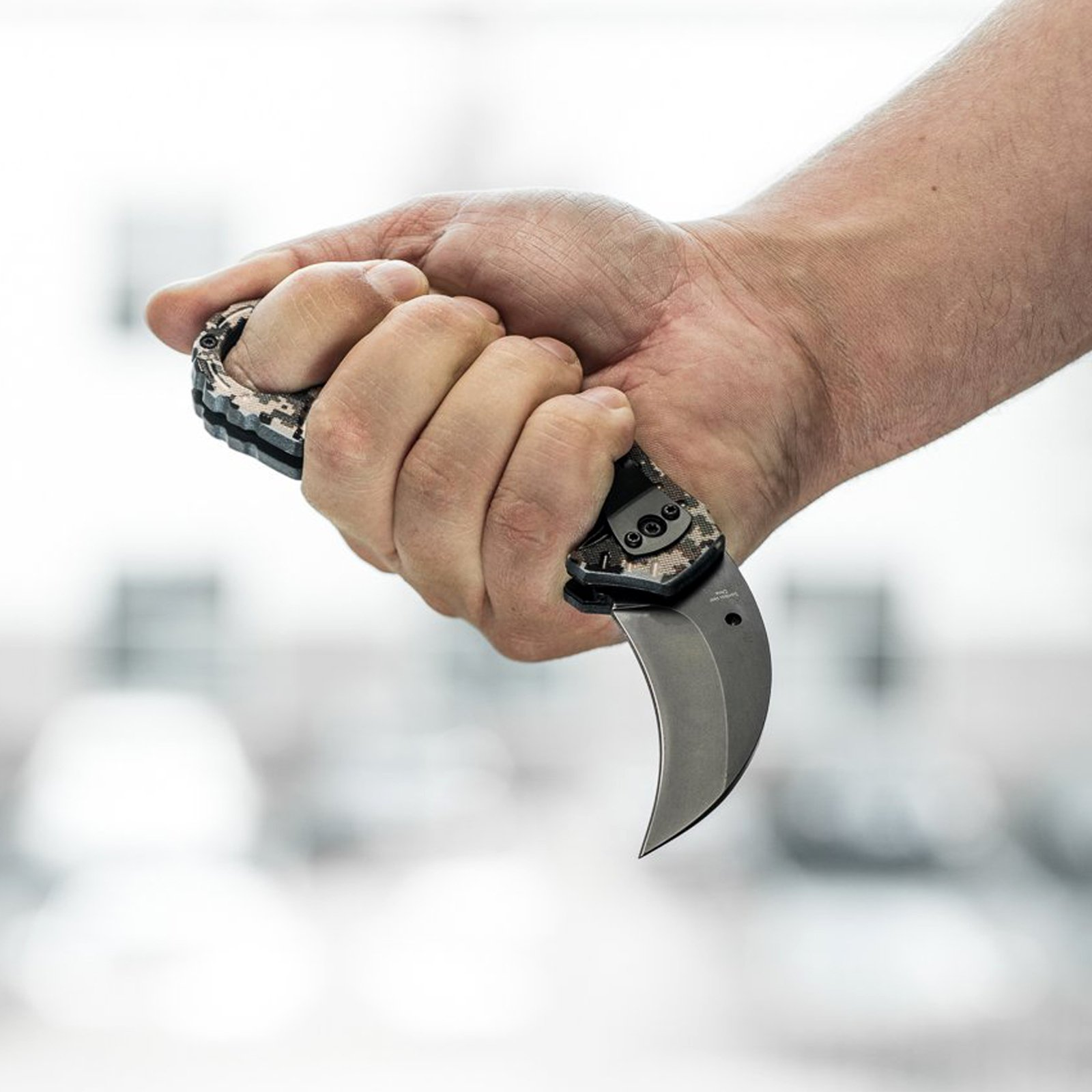 ASR-Outdoor-Hawkbill-Style-Folding-Knife-Digital-Camo-Pocket-Blade-4-Colors miniature 10