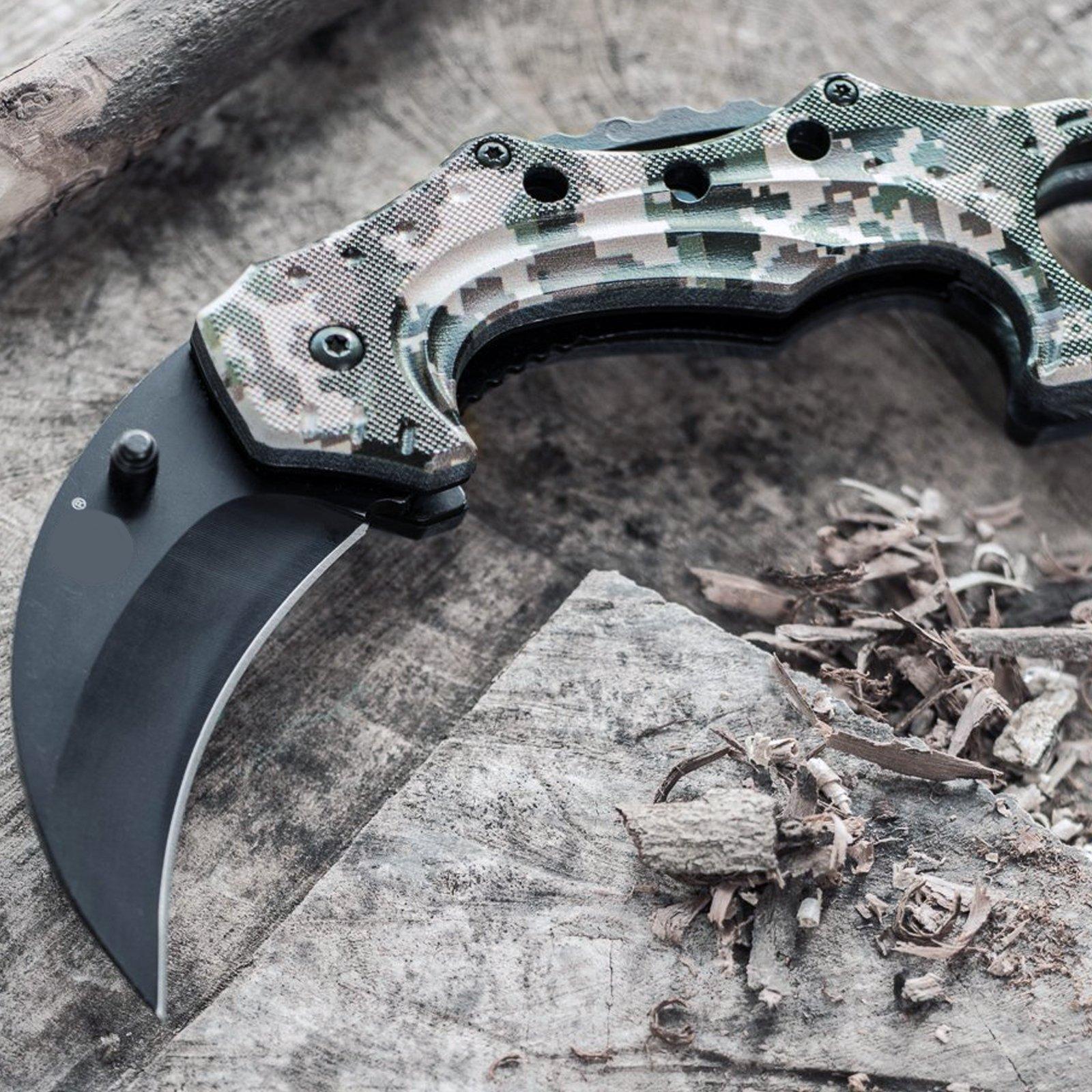 ASR-Outdoor-Hawkbill-Style-Folding-Knife-Digital-Camo-Pocket-Blade-4-Colors miniature 14