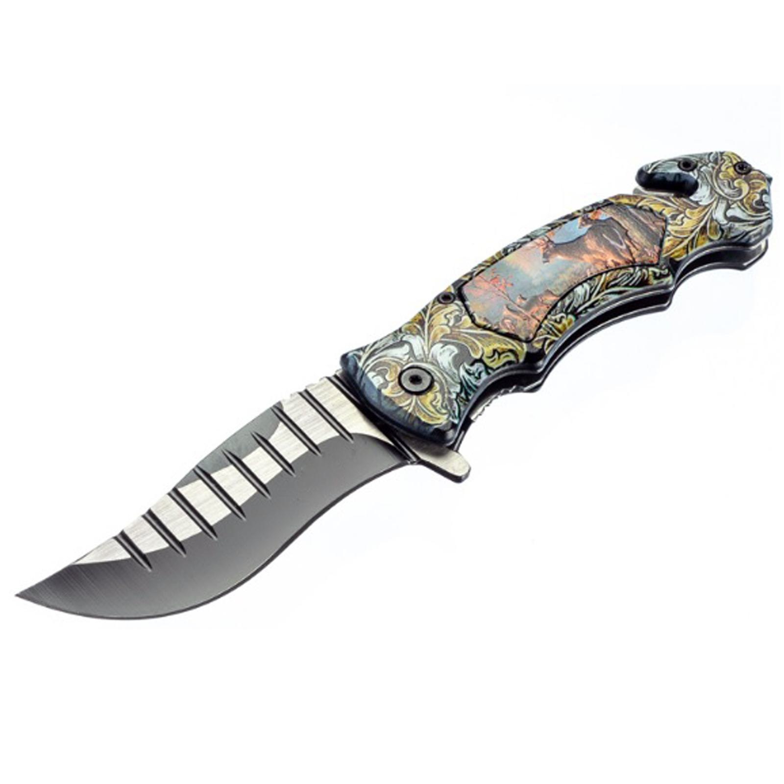 ASR Outdoor Clip Point Pocket Knife Deer Design