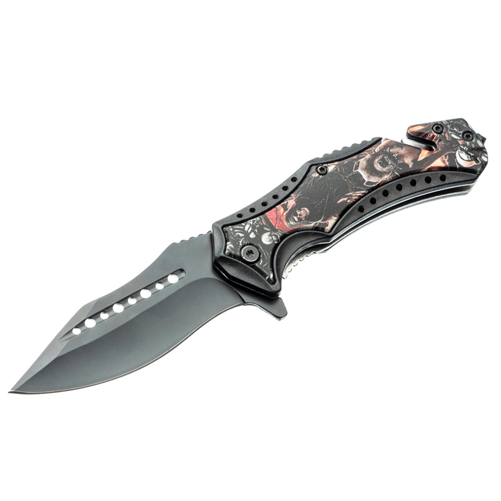 ASR Outdoor Clip Point Pocket Knife Reaper Bulldog Design