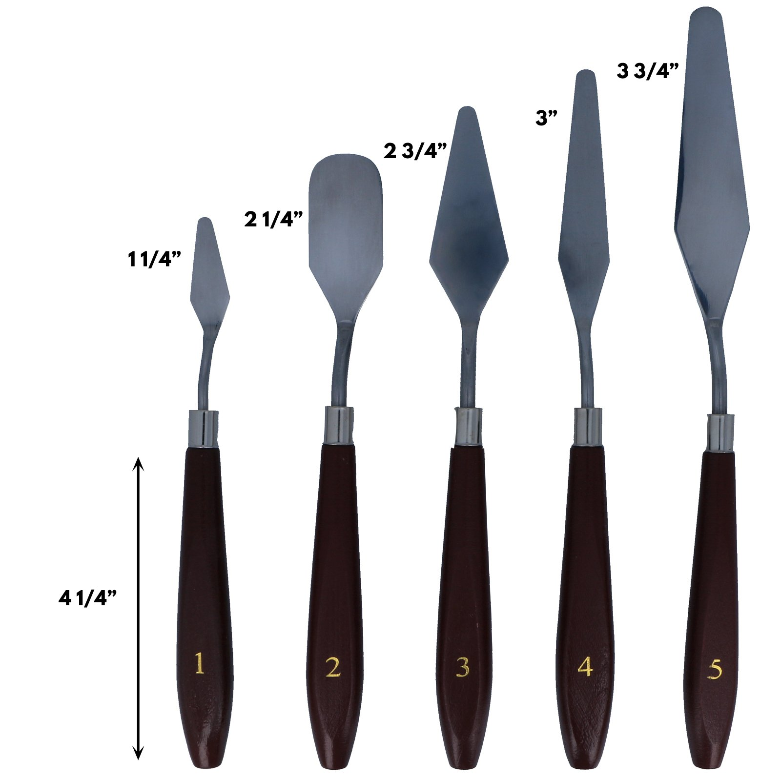 5pc Universal Tool Artists Spatula Set Wooden Handles Assorted Sizes