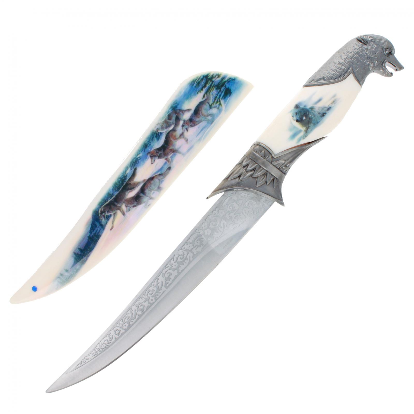 Decorative Wolf Dagger with Printed White Sheath