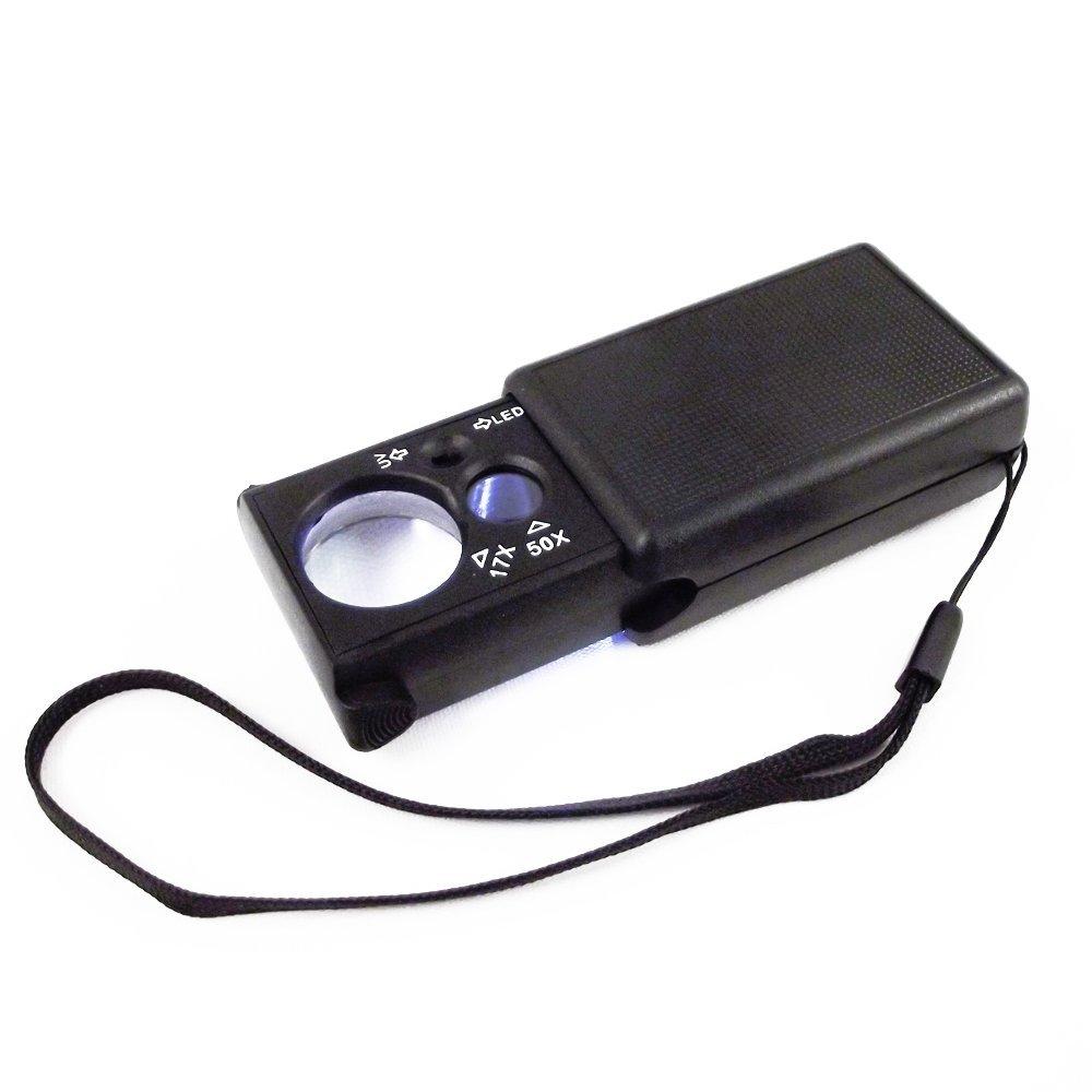 Square UV Lit Dual Lens Loupe