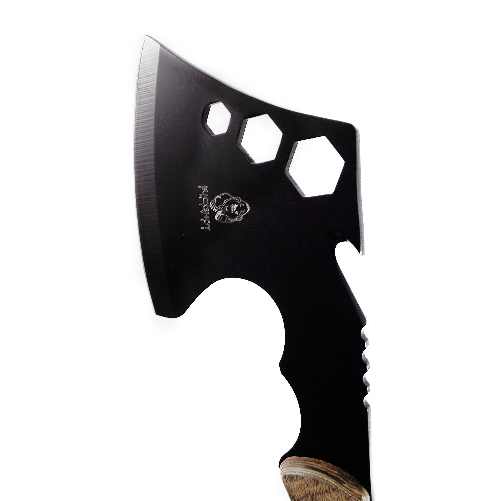 Buckshot Knives Camping Axe Hatchet - Black Steel With Cord Cutter