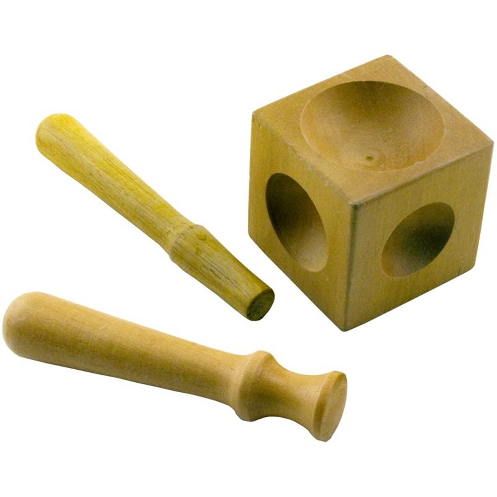 Wooden Dapping and Doming Block with Shaping Tools