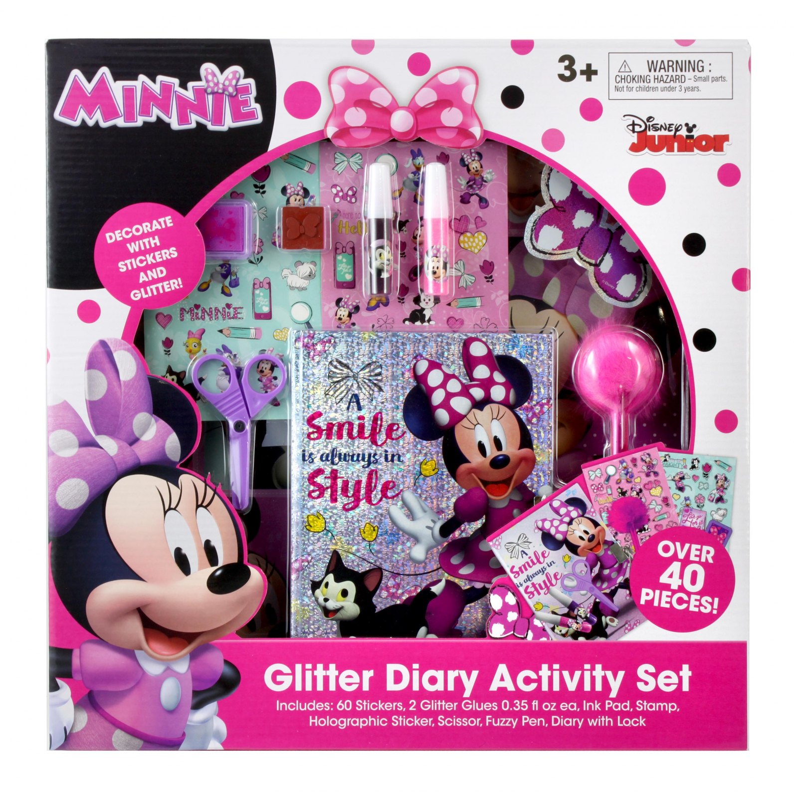Disney Minnie Mouse Pink Glitter Diary Activity Stationery